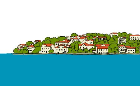 Old european city. Mediterranean sea. Sketch for your design Ilustracja