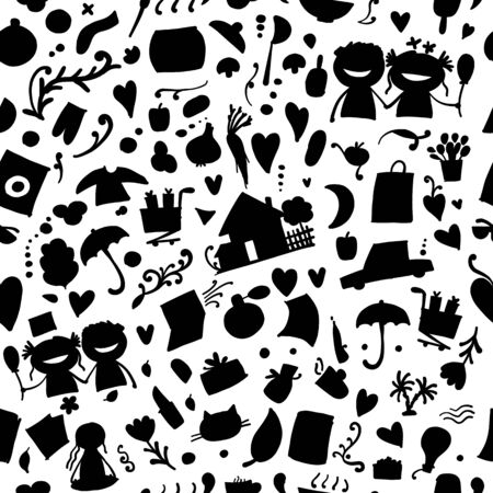 Lifestyle background, current affair. Seamless pattern for your design. Vector illustration Çizim
