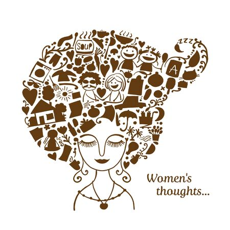 Female thoughts in head about current affairs. Sketch for your design. Vector illustration