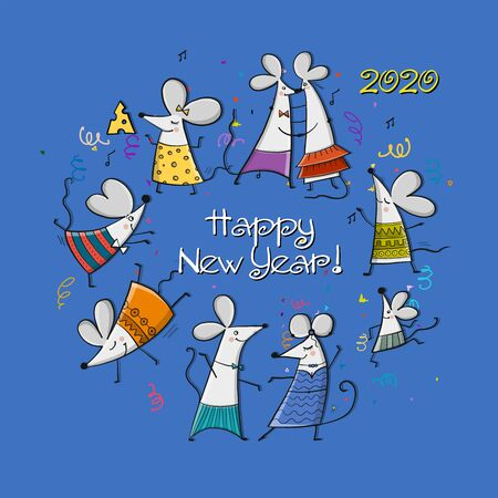 Funny mouses party, symbol of 2020 year. Banner for your design. Vector illustration