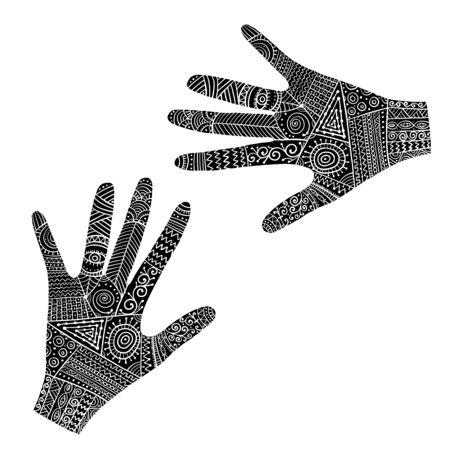 Ornate hands, boho style. Sketch for your design. Vector illustration Illustration