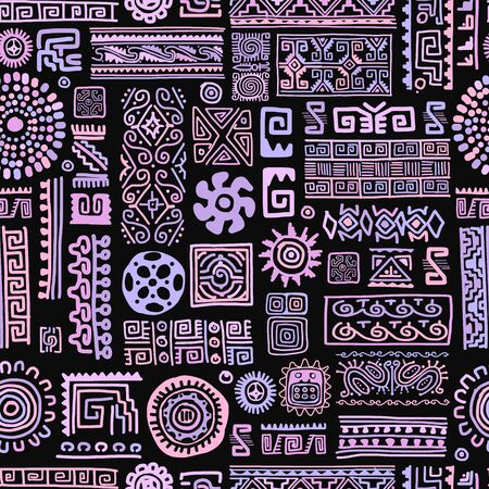 Ethnic handmade lilac ornament, seamless pattern, vector illustration Vettoriali