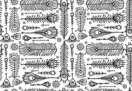 Peacock feather collection, ethnic style, seamless pattern for your design