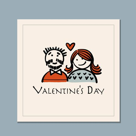 Valentines day greeting card design. Love and Wedding Art