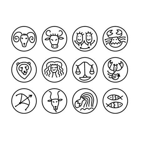 Zodiacal set with astrology signs for your design Vektoros illusztráció