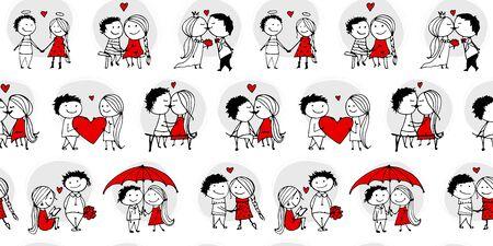 Couple amoureux s'embrasser, modèle sans couture de la Saint-Valentin pour votre conception, illustration vectorielle