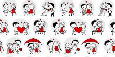 Couple in love kissing, valentine seamless pattern for your design, vector illustration