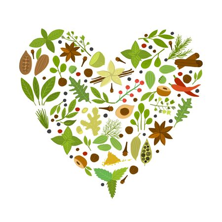 Heart shape made from herbs and spices collection for your design