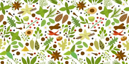Herbs and spices background, seamless pattern for your design