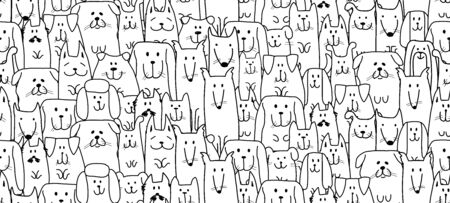 Funny dogs family, seamless pattern for your design Illustration