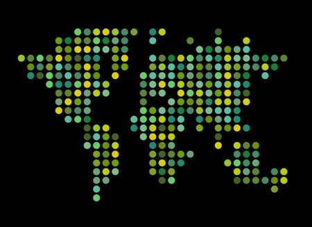 Abstract computer graphic World map of round dots