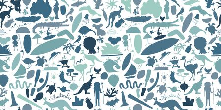 Australian life, nature and animals. Seamless pattern for your design
