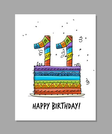 11th anniversary celebration. Greeting card template