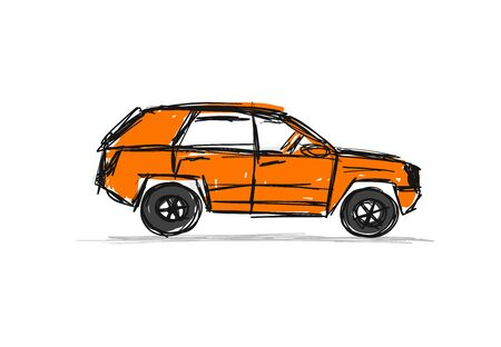 Tuned SUV, sketch for your design. Vector illustration 向量圖像