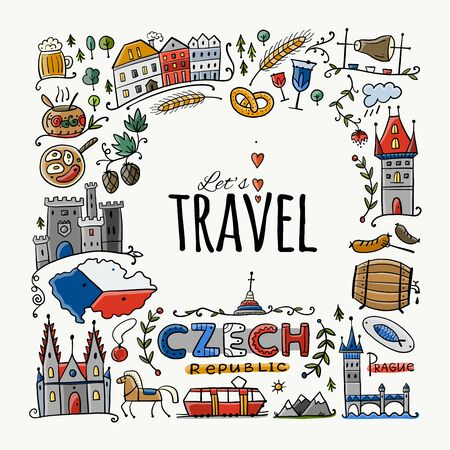 Czech Republic. Travel illustration with Czech landmarks, people and food