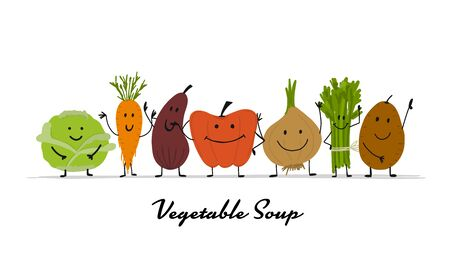 Funny smiling vegetables, character for your design. Vector illustration