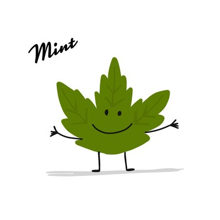 Funny mint leaf, character for your design. Vector illustration