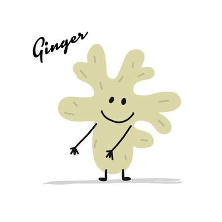 Funny smiling ginger spicy, character for your design. Vector illustration Иллюстрация