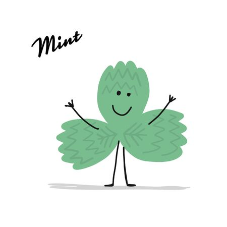 Funny mint leaf, character for your design Illustration