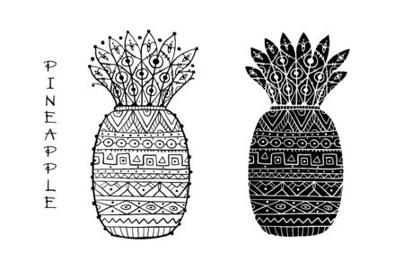 Pineapple, ethnic ornament, sketch for your design. Vector illustration Ilustração