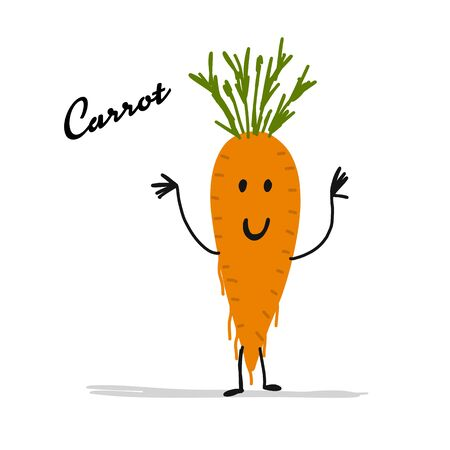 Funny smiling carrot, character for your design. Vector illustration Ilustrace