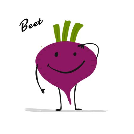 Funny smiling beet, character for your design. Vector illustration