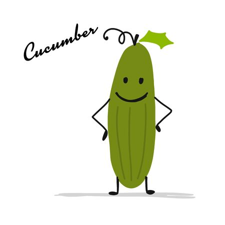 Funny smiling cucumber, character for your design. Vector illustration Ilustrace