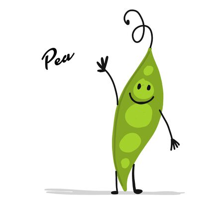 Funny smiling peas, character for your design. Vector illustration