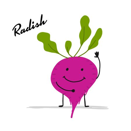 Funny smiling radish, character for your design. Vector illustration