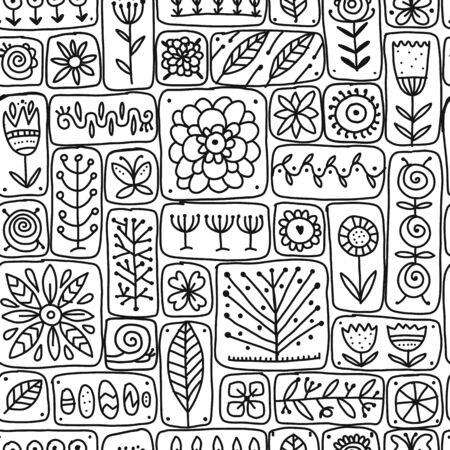 Pared floral étnica, patrones sin fisuras para su diseño