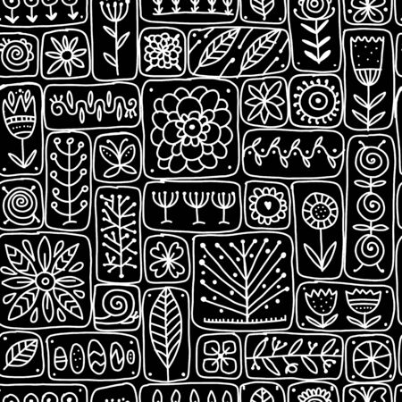 Ethnic floral wall, seamless pattern for your design Векторная Иллюстрация