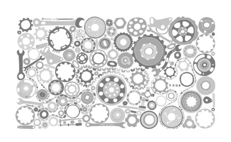 Auto spare parts and gears, background for your design. Vector illustration