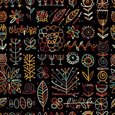 Ethnic floral seamless pattern for your design Векторная Иллюстрация