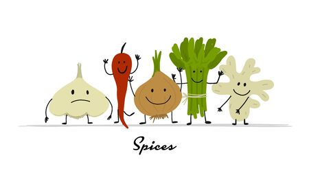 Funny smiling spices, character for your design