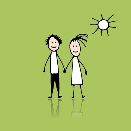 Couple in love, sketch for your design, vector illustration
