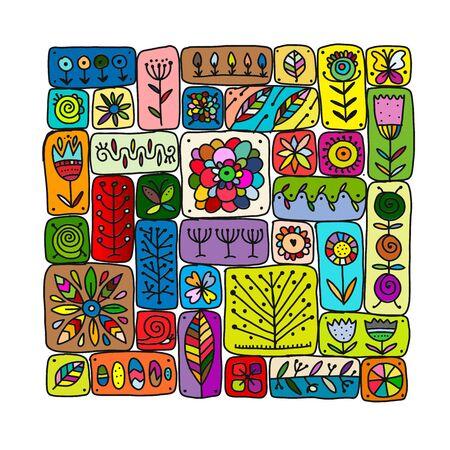 Ethnisches Blumenmuster für Ihr Design. Vektor-Illustration Vektorgrafik