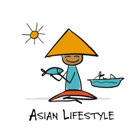 Asian lifestyle, people characters for your design. Fisherman