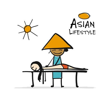 Asian lifestyle, people characters for your design. Masseur. Vector illustration Ilustrace