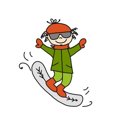Skiing boy cute, cartoon. Sketch for your design Illusztráció