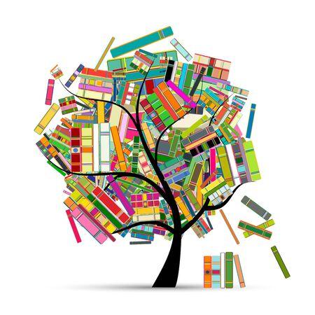 Albero della biblioteca con libri per il tuo design