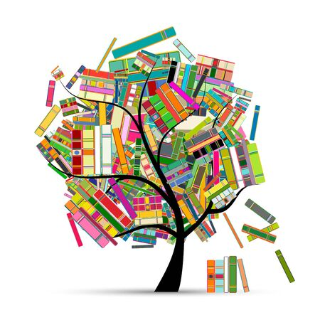 Library tree with books for your design Ilustracja
