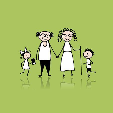 Grandparents with grandchildren, sketch for your design Ilustrace