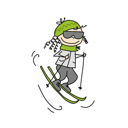 Skiing girl cute, cartoon. Sketch for your design. Vector illustration