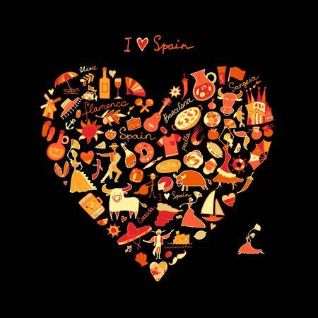 Spain love, art heart shape. Sketch for your design