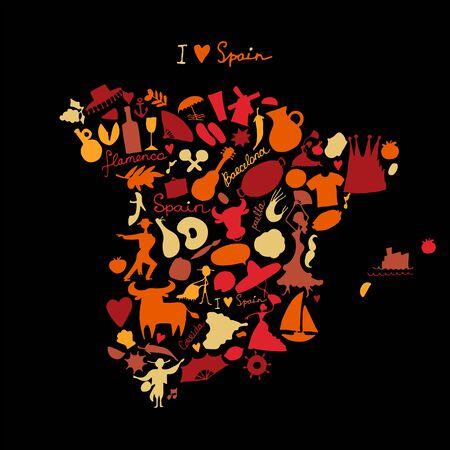 Spain map made from design elements. Sketch design. Vector illustration Stock Illustratie