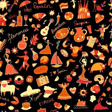 Spain, seamless pattern for your design Stock Illustratie