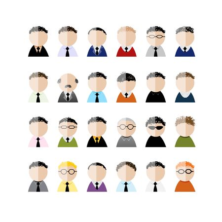 Set of business men peoples icons, cartoon for your design. Vector illustration