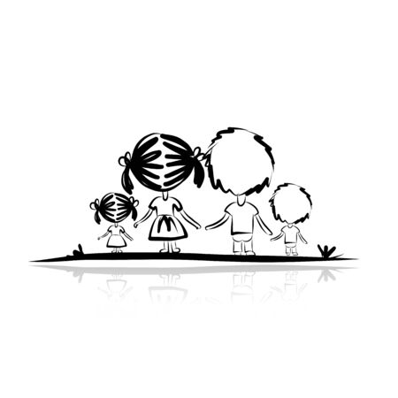 Family sketch for your design. Vector illustration