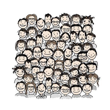Groupe de personnes, croquis pour votre conception