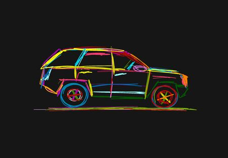 Tuned SUV, sketch for your design. Vector illustration Illustration